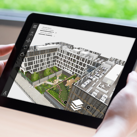 Laptop with augmented reality application for the real estate