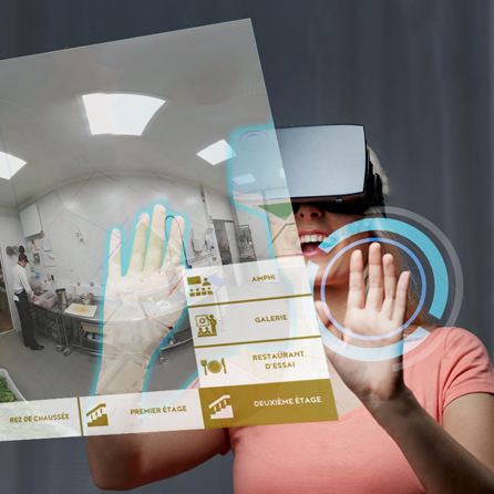 Virtual reality application with virtual headset and interactions