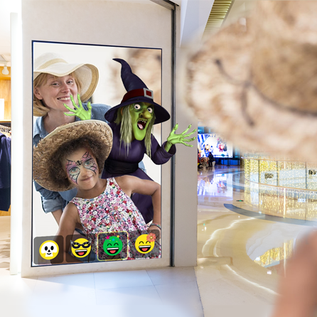 Selfie application in shopping mall - mother and child with make-up and item insertions