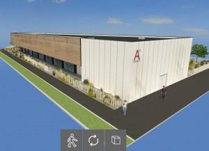 vue 3D du siège d'Artefacto à Betton