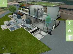 maquette 3D d'une usine dans une application