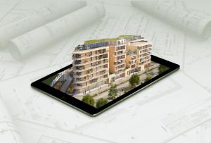 immeuble en 3D qui sort d'une tablette