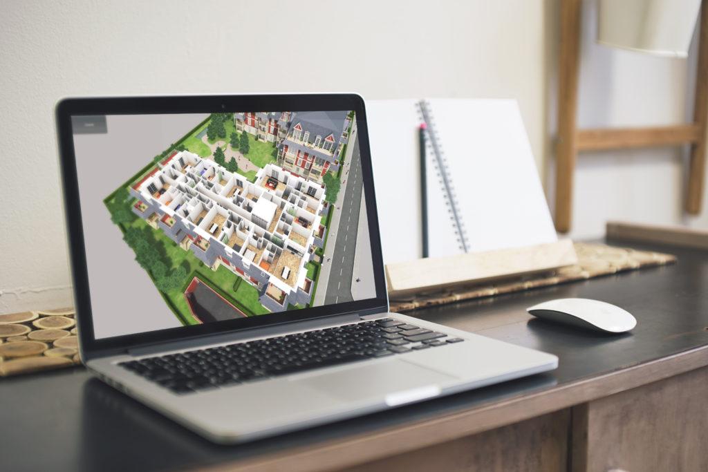 maquette 3D interactive sur ordinateur