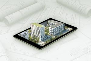 programme immobilier en 3D sur une tablette