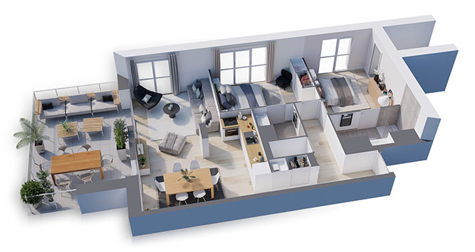 plan 3D d'un appartement