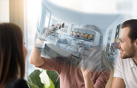 visite virtuelle immobilière d'un couple