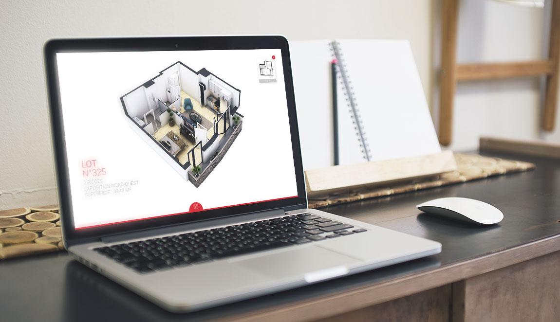 maquette 3D d'appartement