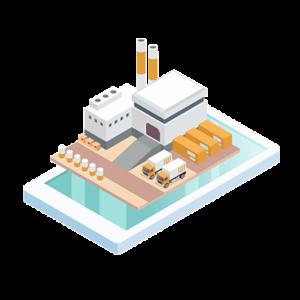 usine en 3D dans une application