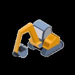 engin de chantier en 3D