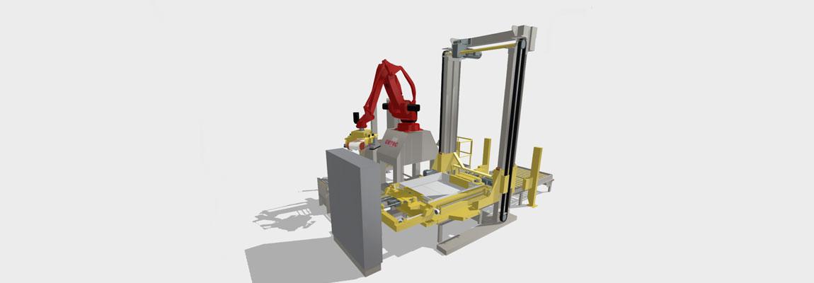 maquette 3D d'un robot de palettisation