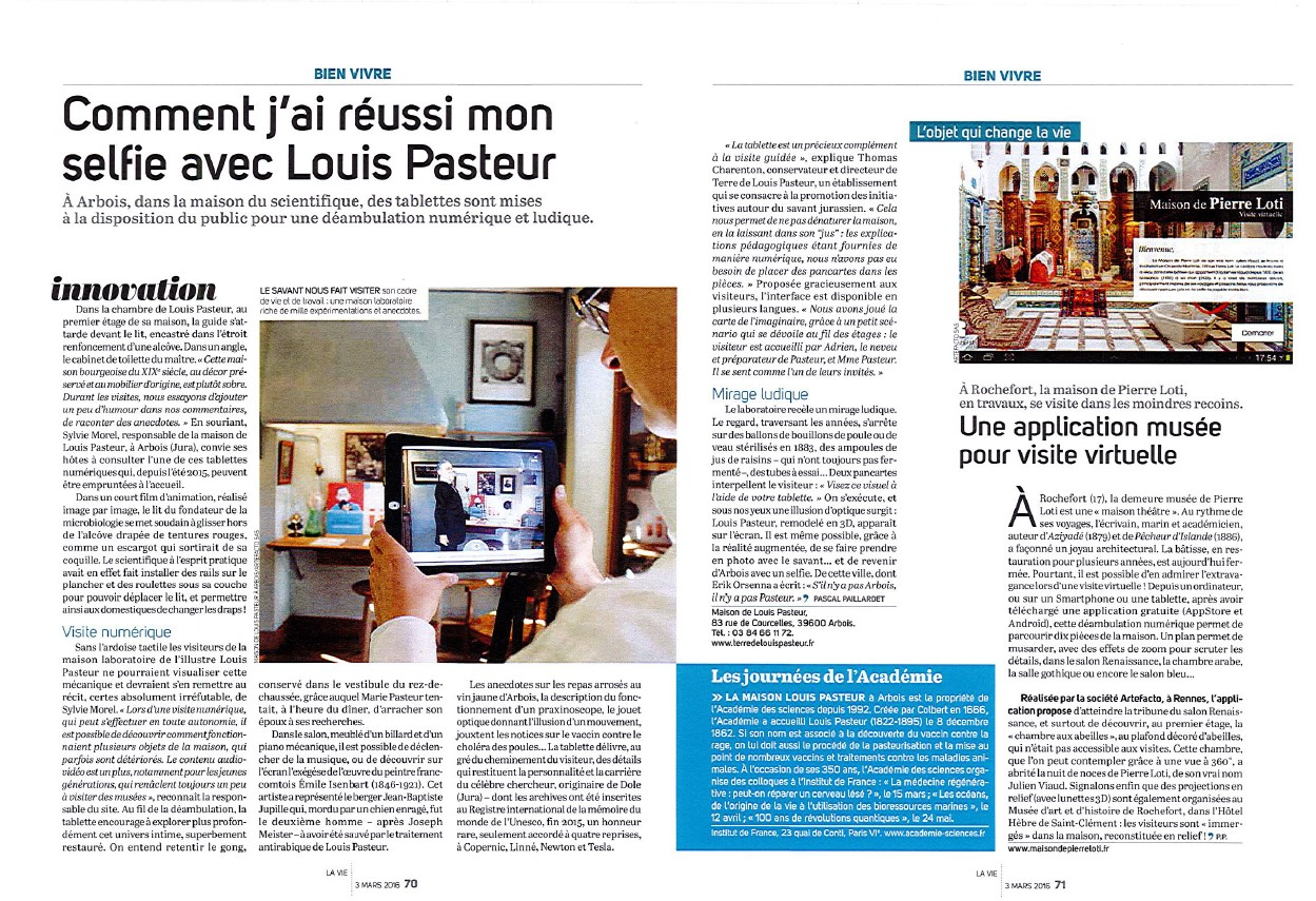 article sur l'application Louis Pasteur