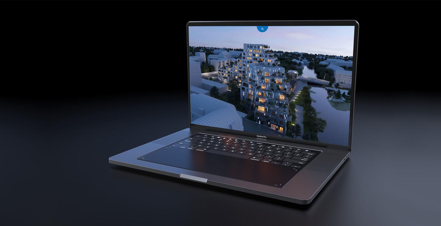 maquette 3D de nuit sur le web