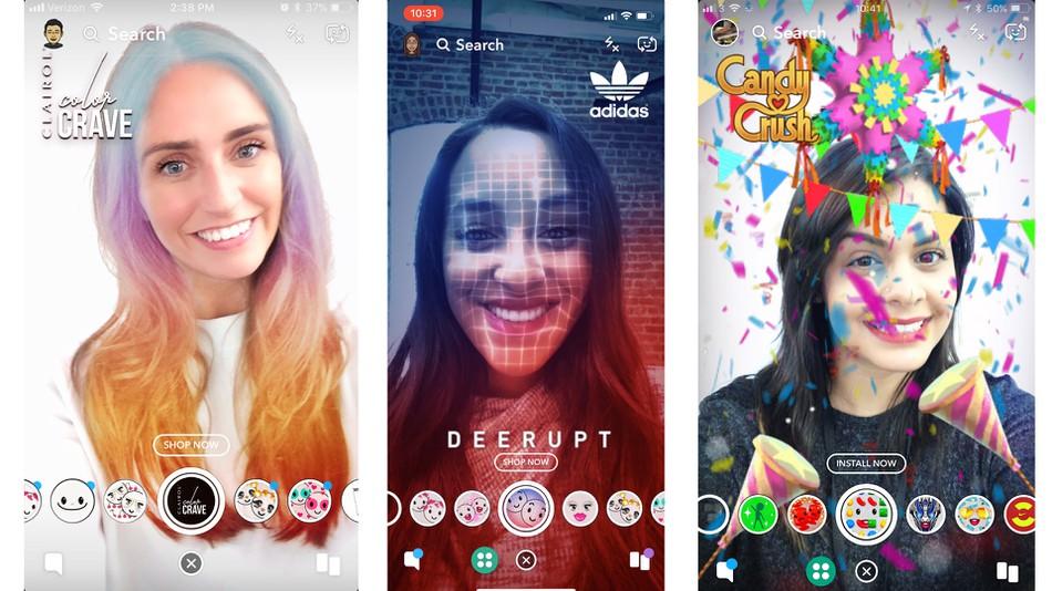 masques publicitaires Snapchat